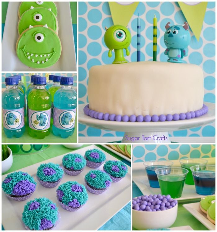 Cute Monsters Inc inspired party food: Mike Wazowski cookies, monster jello, Furry Sully cupcakes, and Green and blue Monster juice.