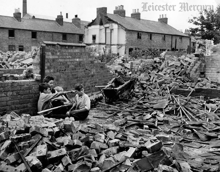 Wharf Street, August 1955, during slum clearance. Photo from Leicester Mercury