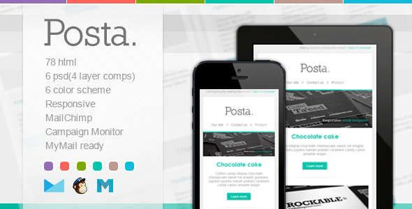 180 Absolute Best Responsive Email Templates - Posta - Responsive E-mail Template