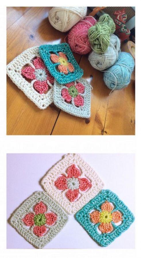 Spring flower #crochet granny square free pattern @madewithloops ༺✿ƬⱤღ  https://www.pinterest.com/teretegui/✿༻