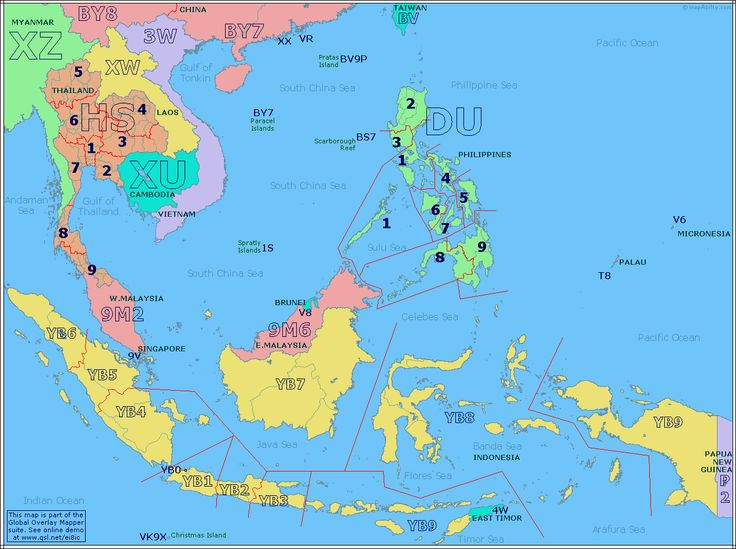 Amateur Radio Prefix Map of South East Asia