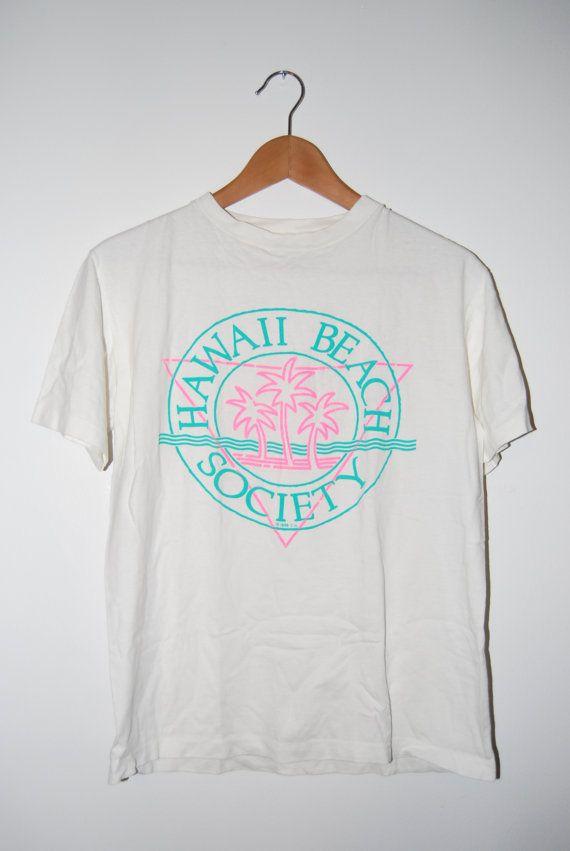 Vintage 1988 Miami Beach Society Palm Tree Tshirt
