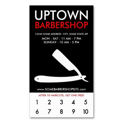 uptown barbershop loyalty business cards | Barber Business Cards ...