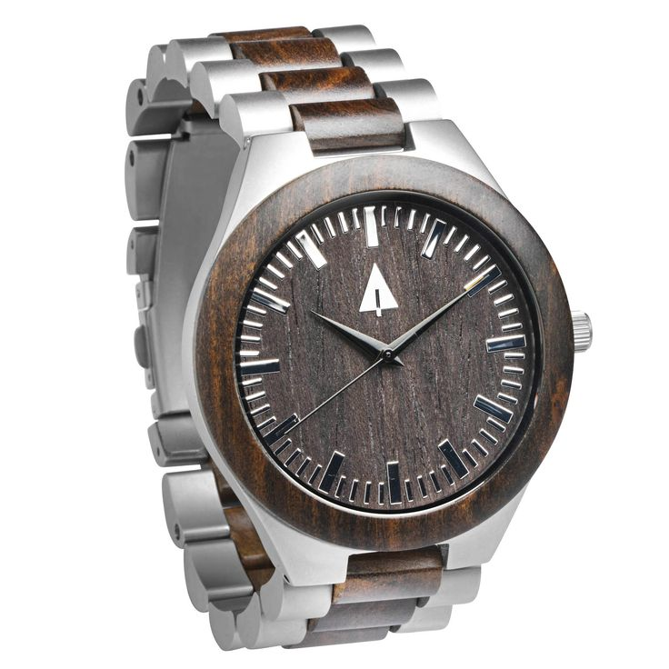 Stainless Steel Wood Watch // Silver Ebony Theo from Tree Hut Design