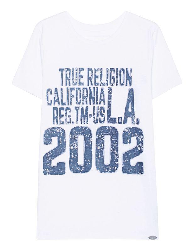T-Shirt mit Print Weißes T-Shirt aus softer Baumwolle mit blauem Label-Print in Vintage-Optik vorne und witzigem Buddha-Print hinten.  Kombiniert mit Jeans und Sneakers für einen lässigen Style...