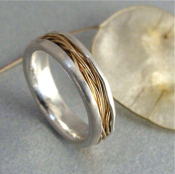 entrelazados... 14k oro y anillo de plata