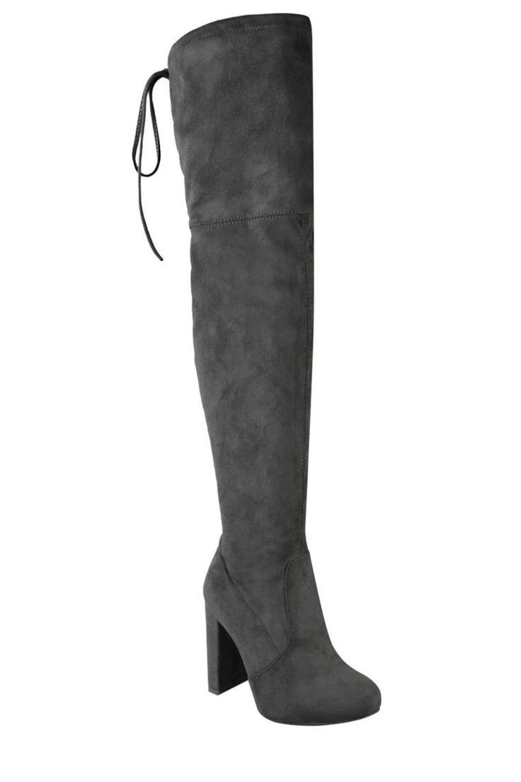 Khaleesi Thigh High Boots- Grey - Hapa Clothing - 4