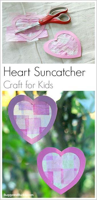 Heart Sun Catcher Craft for Kids: Make a tissue paper suncatcher for Valentine's Day! Easy craft for children of all ages! ~ BuggyandBuddy.com via @https://www.pinterest.com/cmarashian/boards/