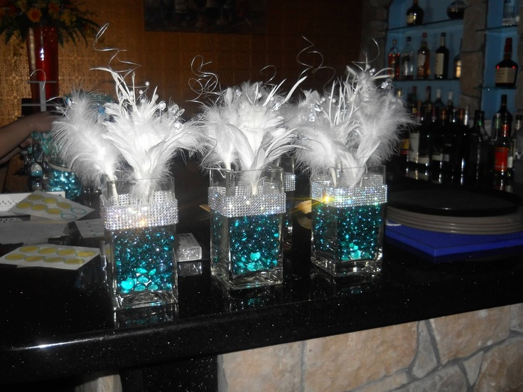 Tiffany themed centerpieces for th birthday glass vases