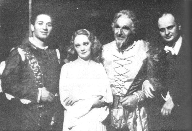 Király Sándor, Gyurkovics Mária, Palló Imre, és Fricsay Ferenc egy szegedi Rigoletto előadáson