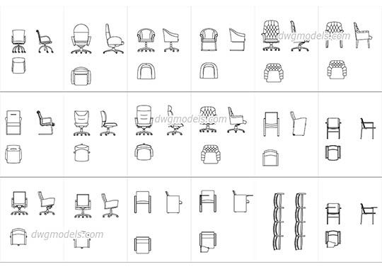 Conference And Meeting Chairs Dwg Cad File Download Free