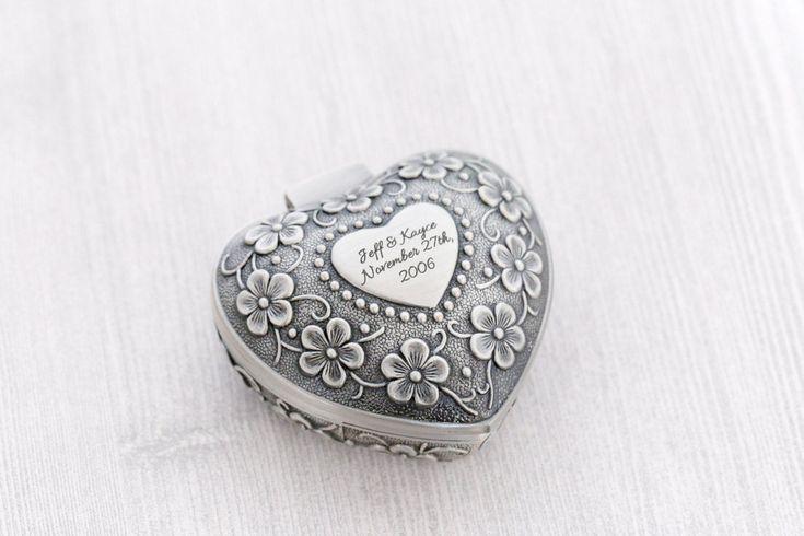 Engraved Jewelry Box - Heart Jewelry Box - Wedding Gift - Ring Box - Engraved Jewelry - Custom Engraving - Wedding Ring Box - Proposal