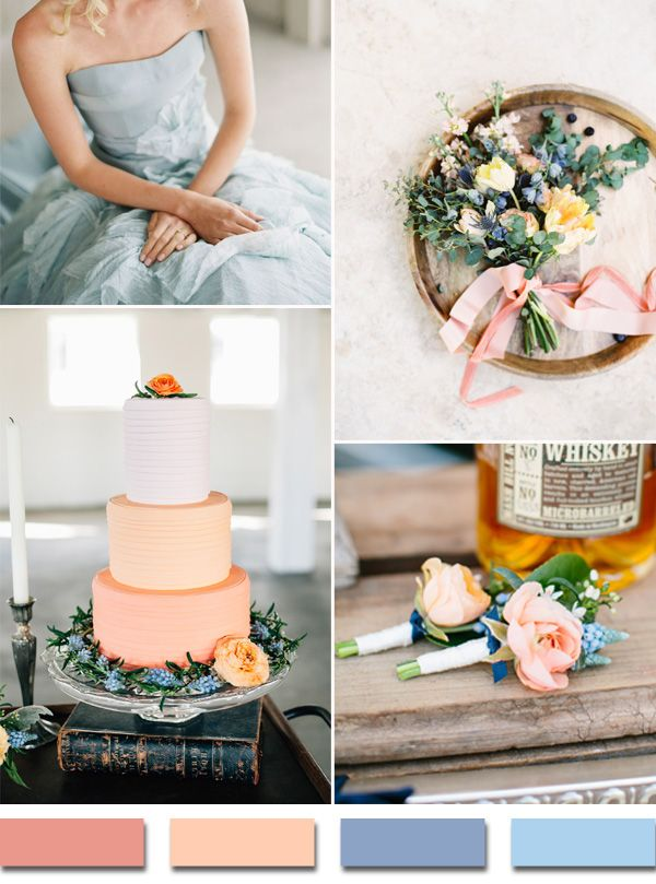 coral peach and powder blue wedding color ideas for 2015 trends