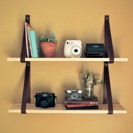 Make this awesome leather strap and wood shelf with just a few supplies!