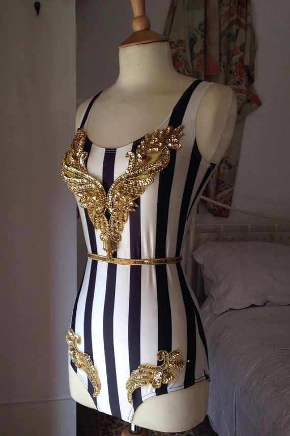 Striped circus body with gold sequin embellishments. Choose from gold or silver sequins! Size UK 8-10 US 4-6 Full bottom back