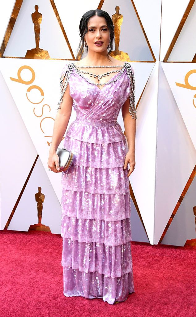 Salma Hayek from Standout Style Moments From Oscars 2018  The actress took a risk on the red carpet in the tiered velvet Gucci gown, and it paid off!