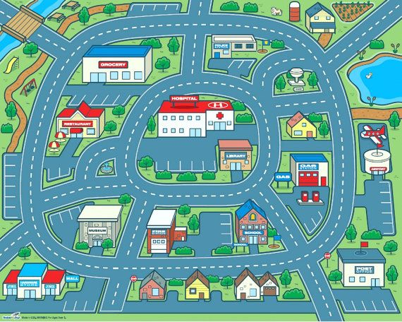 driving around town car play mat for kids 50x40 by rocketbug