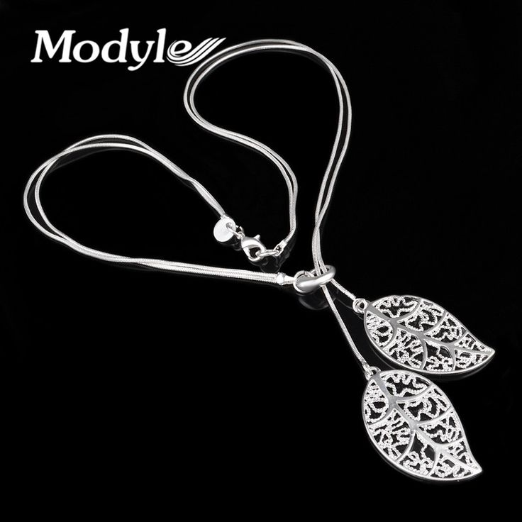 New Fashion Silver Plated Plated Big Leaf Pendant Necklace Beautiful Elegant Charm Silver Plated Leaf Necklace Jewelry Women
