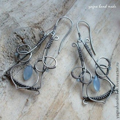 Серебряные серьги - синий халцедон - синий,wire wrap,wire work,wire wrap art