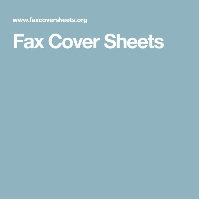 Fax Cover Sheets