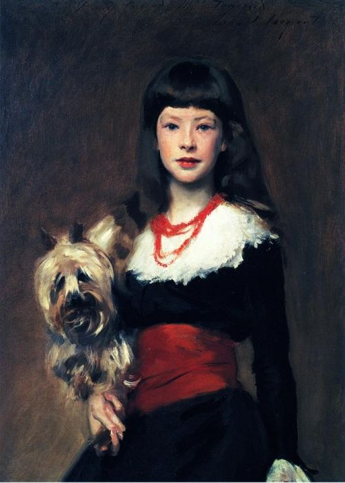 Beatrice Townsend with a small terrier to her side    Original painting by John Singer Sargent @ngadc