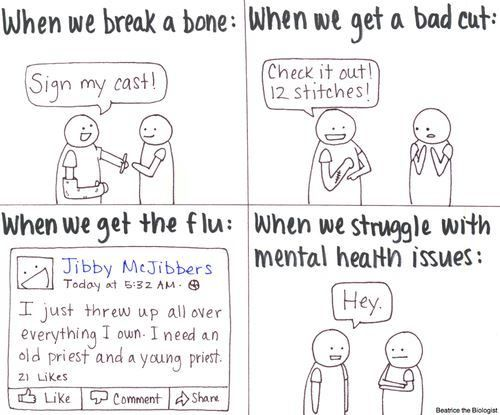 "CRINGY CLICHE ALERT: ""A mental health problem is the same as a broken arm.""  Wrong!"