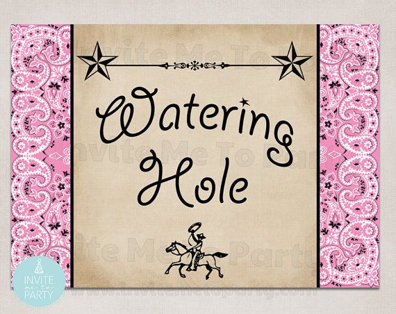 Cowgirl Party Watering Hole Sign  printable sign poster 5 x