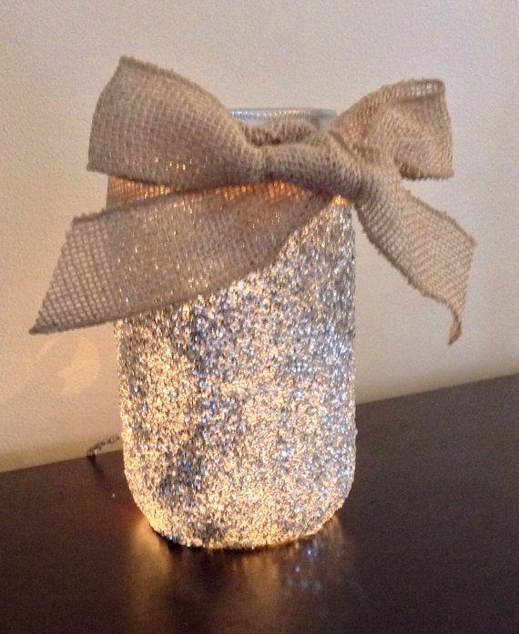 Glitter Lighted Mason Jar Lamp Mason Jar Light by DazzleMePink