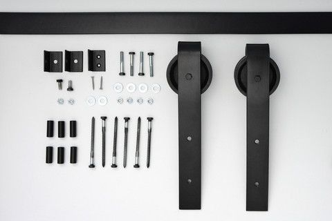 Double Traditional Sliding Barn Door Hardware Kit – Off The Hinges