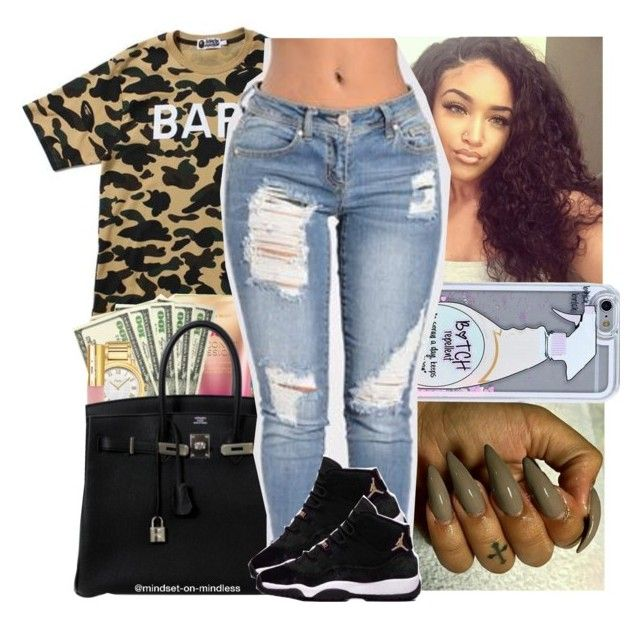 """""""Rihanna x You Needed Me"""" by geazybxtch24 ❤ liked on Polyvore featuring A BATHING APE"""
