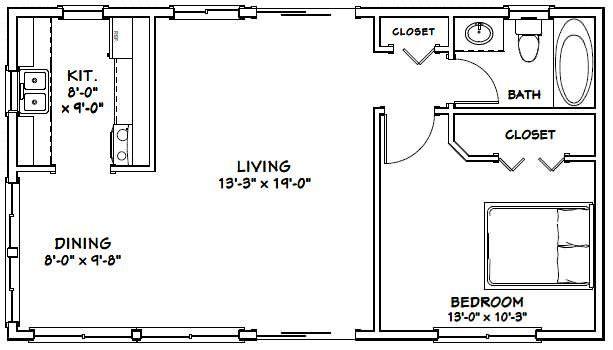 36x20 House 36x20h1 720 Sq Ft Excellent Floor Plans