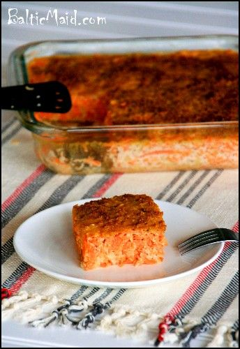 Finnish Carrot Casseroll. Kind of like the Scandinavian version of an Indian carrot halva.