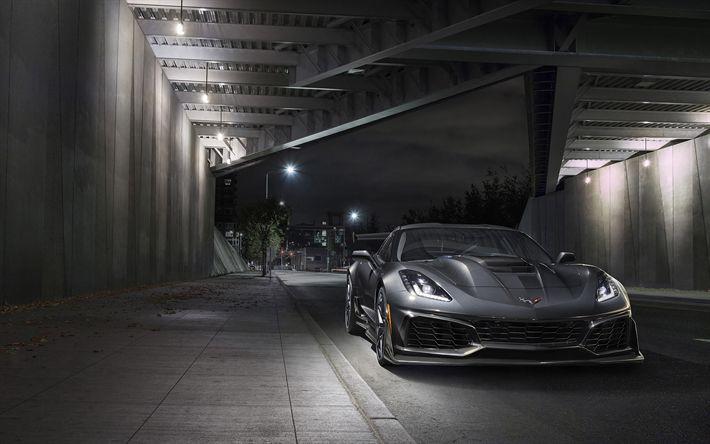 Ordinaire Download Wallpapers Chevrolet Corvette ZR1, 2019, Front View, Sports Car,  Supercar,