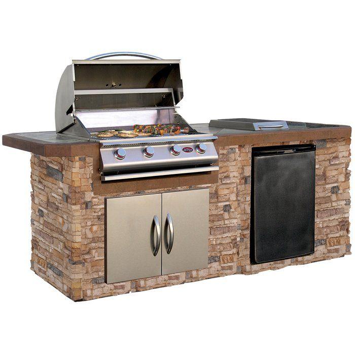 84 3 Piece 4 Burner Liquid Propane Bbq Island Outdoor Kitchen Design Build Outdoor Kitchen Grill Island