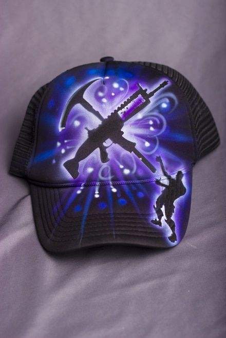 baaa8658642 SALE! fortnite hat Assault Rifles and pickaxe art. SALE! shop fortnite  custom nevermore airbrush hat online JUST  14.95 LIMITED TIME  fortnite   gamer