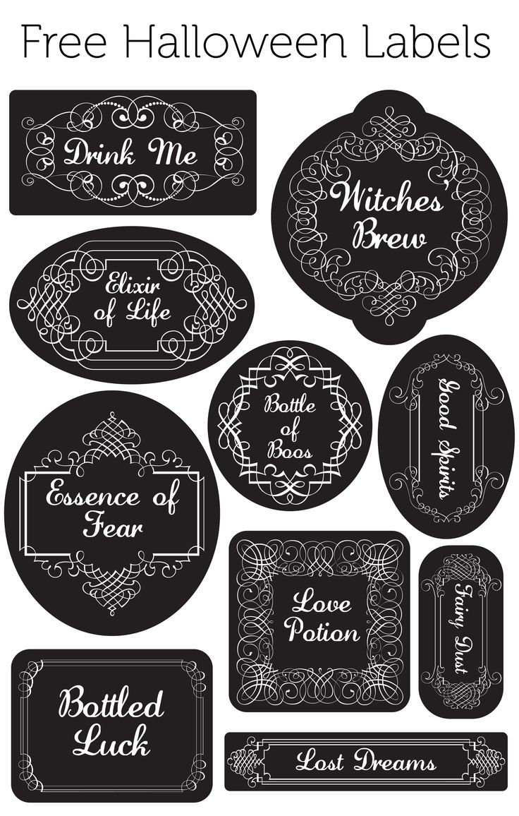 Free Halloween Labels for Jars, Glasses, anything you want ! #HalloweenPrintable