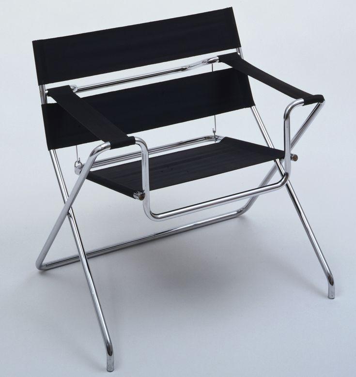 "Marcel Breuer. Folding Armchair (model B4). 1927. TECTA Möbel, Lauenförde, Germany. Chrome-plated tubular steel and Eisengarn. Open: 27 7/8 x 30 7/8 x 25"" (70.8 x 78.4 x 63.5 cm); closed: 36 3/8 x 30 7/8 x 14 1/2"" (92.4 x 78.4 x 36.8 cm). Gift of Maximilian A. Sepp Ltd.. 626.1980. Architecture and Design"
