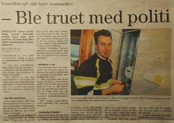 """Vesterålskraft truet i epost Børre Nordheim med å ta i bruk politi for å påtvinge ham """"smart"""" strømmåler."""