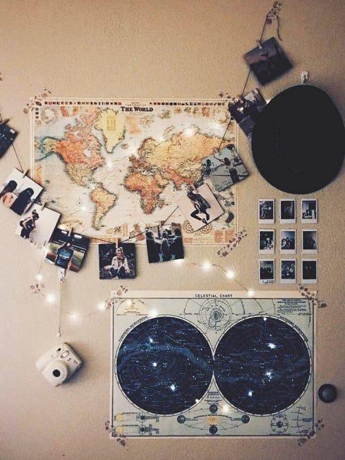 Collage mit Weltkarte