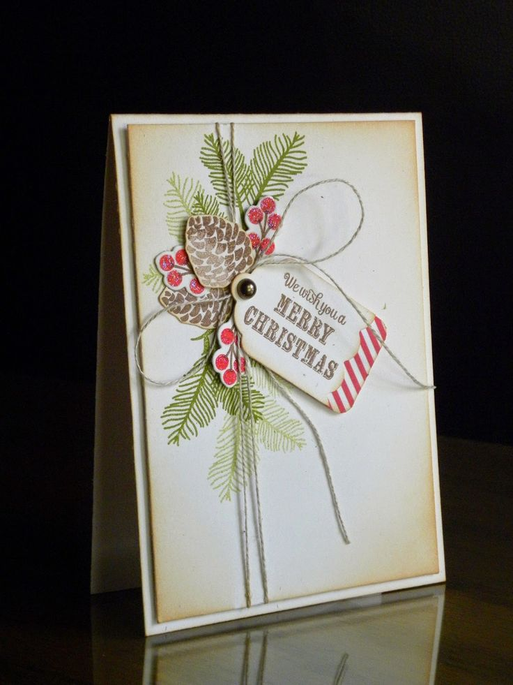 "Lovely ""Merry Christmas"" Pine Cone And Tag Card...with inked distressing. Created by Geri - Geri's Paper Wishes."