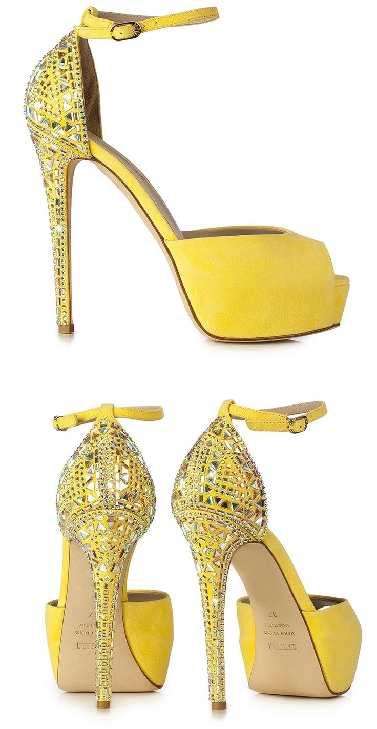 Le Silla – Sandal In Velour, Suede Calfskin With Crystals In Sun