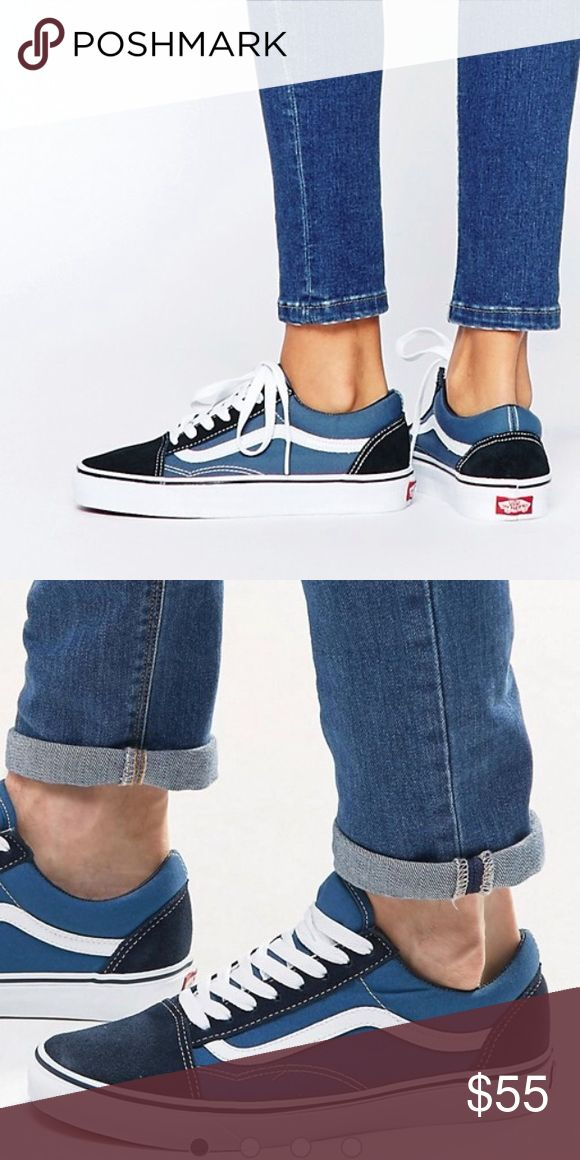 VANS old skool blue/black suede canvas Classic OG sneaker! Worn twice. Size 4.5 men, size 6 women. Sold as is, EUC! Sticker still attached and shoes still smell brand new. Will update with pictures of actual shoes I own soon Vans Shoes Sneakers