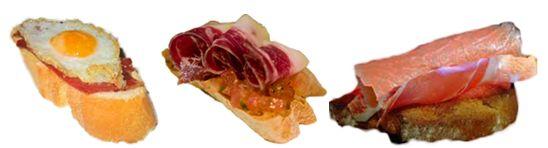 TAPAS DE JAMÓN IBÉRICO Ingredientes: Pan casero Lonchas de jamón ibérico 50 gr de queso de untar 2 huevos de codorniz 2 lonchas de salmón 1 tomate Aceite virgen extra Sal, ajo, perejil y pimienta  Preparación: Rallar el tomate y echarle sal, pimienta, perejil y aceite de oliva virgen extra. Picamos el ajo y lo mezclamos con el queso. Tostamos 6 rebanadas de pan durante 4 minutos.  En 2 rebanadas disponemos el queso, ajo el salmón enrollado y las lonchas de jamón de pata negra.