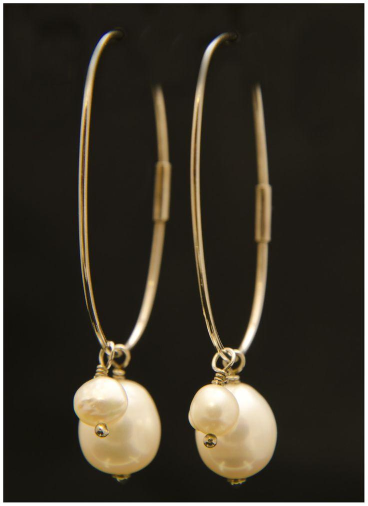 Pendientes ovalo plata y perlas barrocas