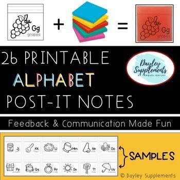 Printable Alphabet Post-It Notes are perfect to help students identify, write, and apply letters to their world. Who doesn't love sticky notes, right? Students can practice writing the focus letter of the alphabet on the writing lines at the top, then stick it on ANYTHING!