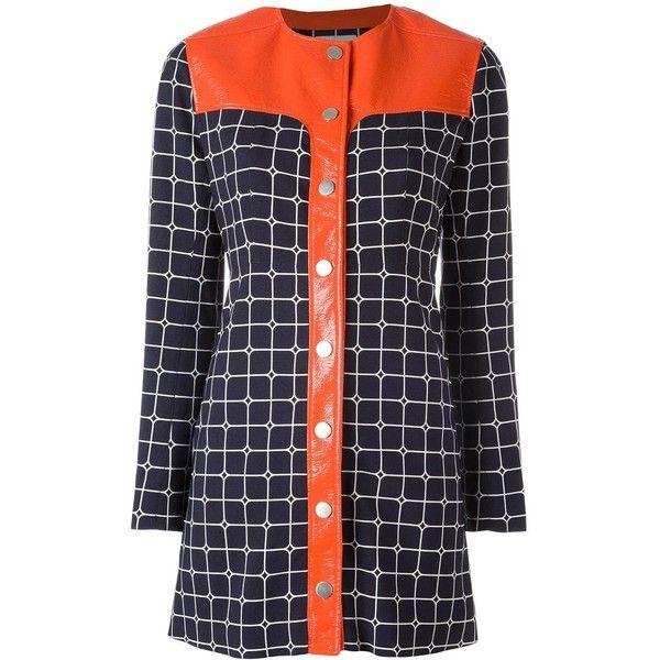 Courrèges 'Grid' shirt dress ($2,442) ❤ liked on Polyvore featuring dresses, blue, blue shirt dress, navy dress, blue dress, navy blue shirt dress and t-shirt dresses