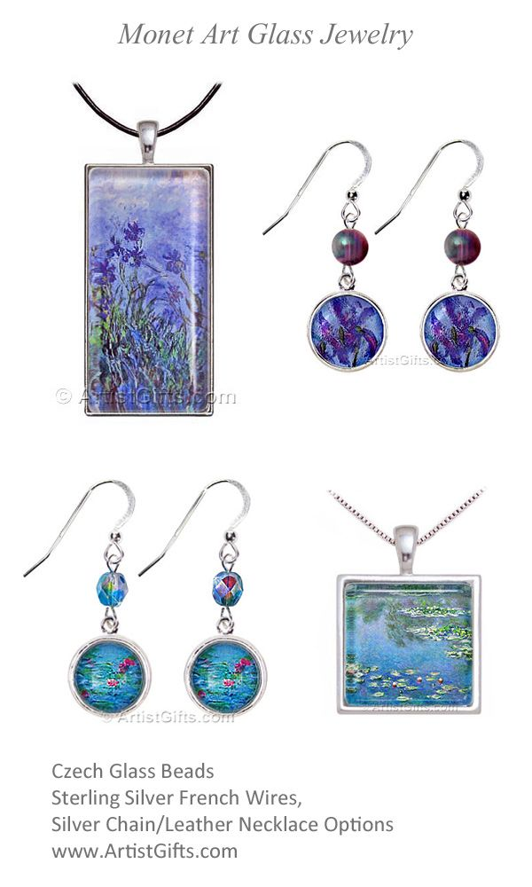 Monet Art Glass art necklace and matching Monet earrings make great Monet Gifts with Free Shipping Everyday! Monet Lilac Irises and Water Lily necklace have Sterling Silver and Leather Chain options. Matching Monet Earrings have Sterling Silver French Wires, and Czech Artisan Glass Beads. www.ArtistGifts.com