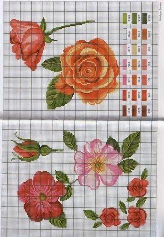patrones flores en punto de cruz - Revistas de manualidades gratis