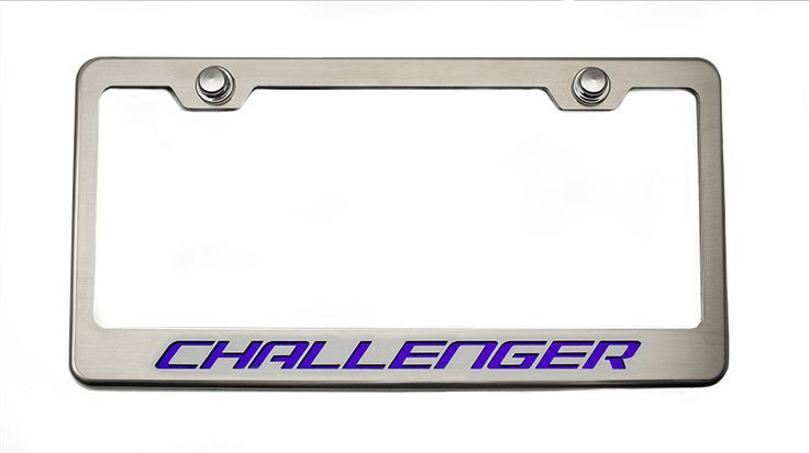 "Complete your project car with one of our Custom License Plate Frames with ""Challenger"" Lettering. These custom tag frames are hand crafted from 304 stainless steel and feature a custom vinyl inlay th"