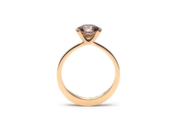 High round tapered ring in 18ct rose gold set with 1.46ct cognac brilliant cut diamond - Butterfly 4 rings with cognac diamonds 1.30ct to 1....